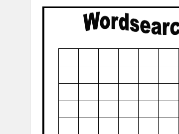 Empty word search grids - make your own