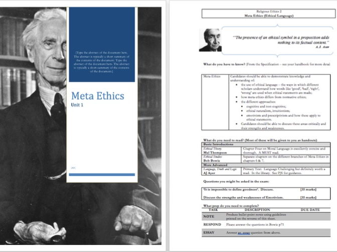 Meta Ethics - Interactive  Unit Guide and Presentations
