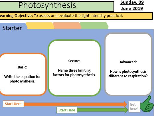 Photosynthesis practical follow up