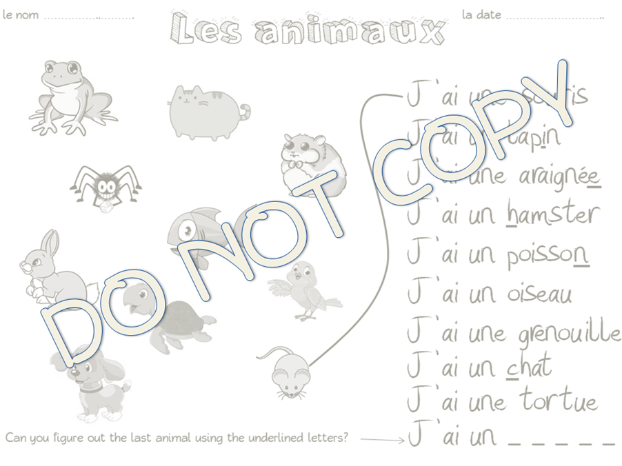 Les Animaux Vocab Resource Pack