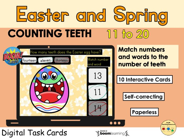 Counting 11 to 20 Easter Egg Teeth Spring BOOM Cards™ Distance Home Learning