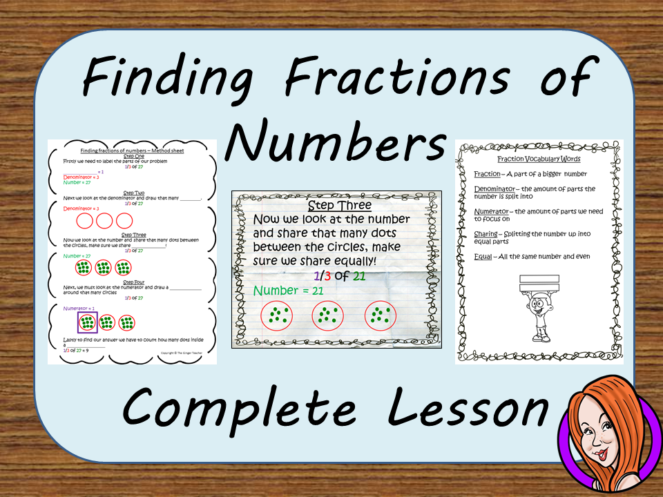 Finding Fractions of Numbers, Complete Math lesson
