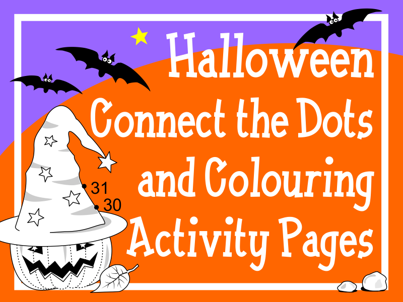 Halloween Connect the Dots and Colouring Activity Pages