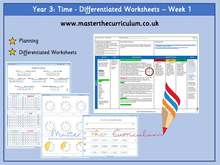 Year 3- Differentiated time worksheets- White Rose Style