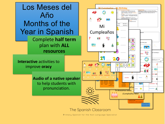Los Meses del Año Months of the Year in Spanish