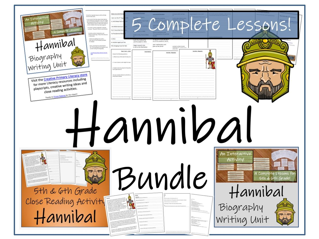 UKS2 History - Hannibal Reading Comprehension & Biography Bundle