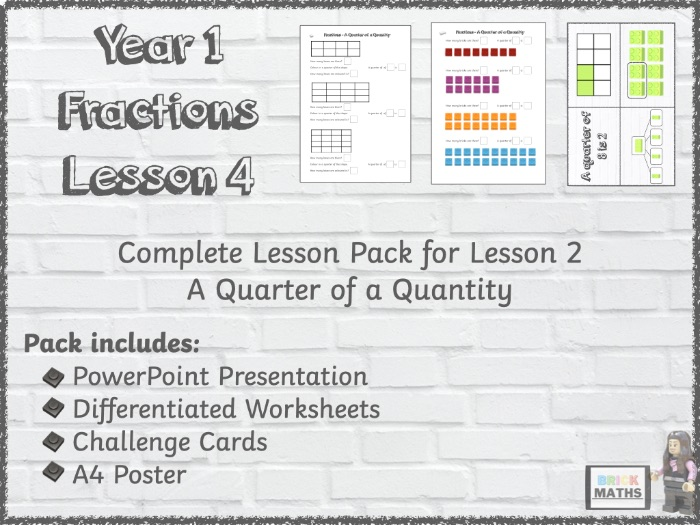 Y1 Fractions - A Quarter of a Quantity - Year 1