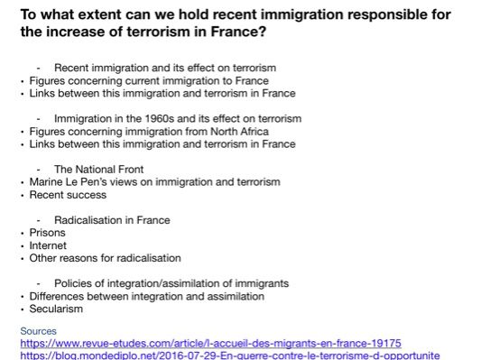 A Level French Independent Research Project IRP example