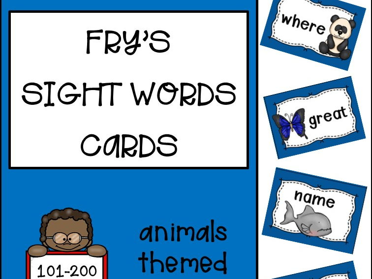 Fry's Sight Words Cards second hundred - Animals Themed