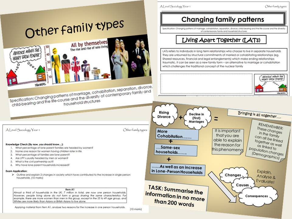 AQA Sociology - Year 1- Families & Households - Other family types