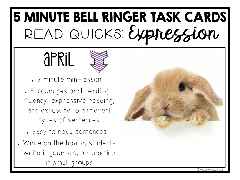Read Quick Bell Ringer Task Cards-APRIL