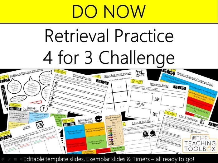 Do Now Retrieval Practice - 4 for 3 Challenge