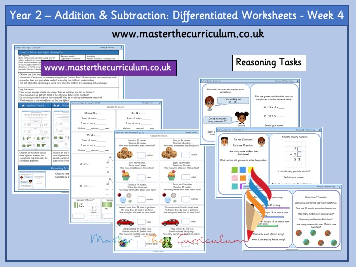 Year 2- Autumn Term- Block 2- Week 4- Addition and Subtraction Differentiated Worksheets