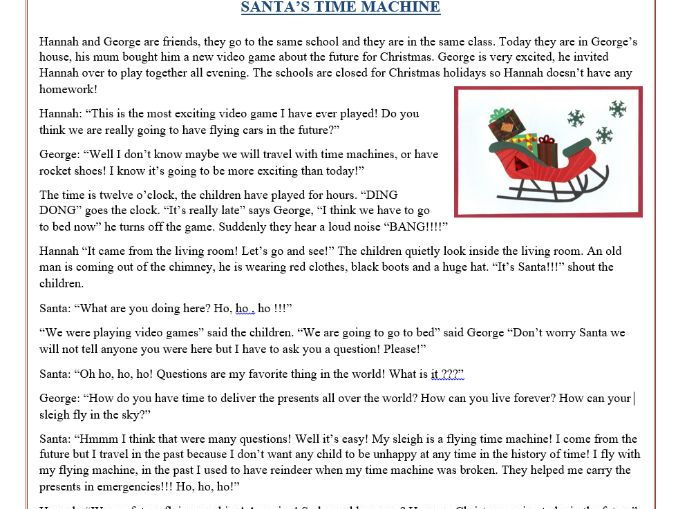 christmas reading comprehension text story santa 39 s time machine by mariapht teaching. Black Bedroom Furniture Sets. Home Design Ideas