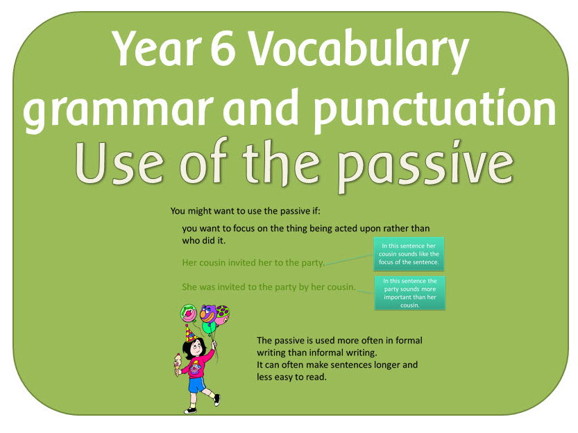 SPaG Year 6 Sentence Grammar: Use of the passive