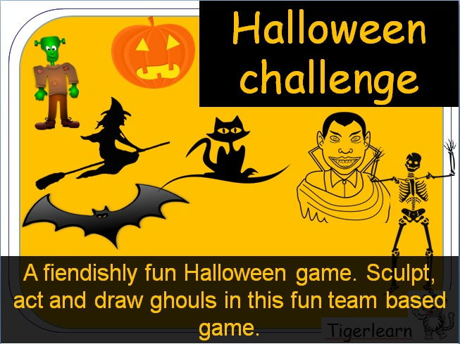 Halloween Super Challenge team card game cards. Draw, act, sculpt and puppeteer your scary ghouls
