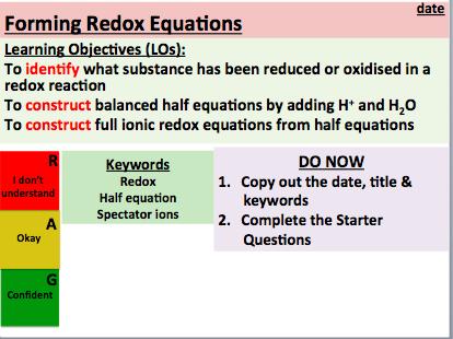 KS5 Chemistry (AS): Forming Redox Equations (Lesson 3)
