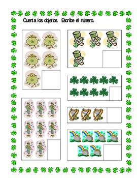 St Patrick's Day counting worksheets in Spanish