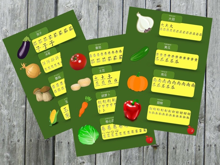 Simple Chinese Characters Worksheet [ vegetables stroke-order characters]