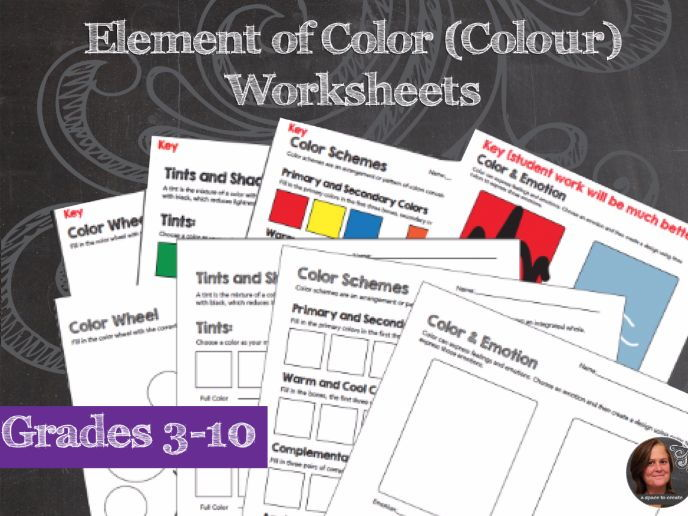 Elements of Art Worksheets Colour & Mini Lessons - Element of Colour (10 Sheets)