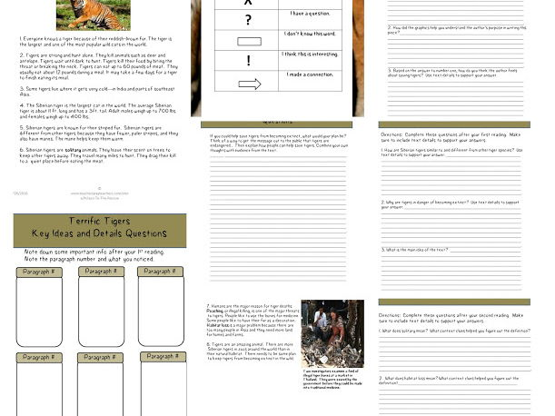 Differentiated Close Reading of Tigers (Endangered Animals) Article