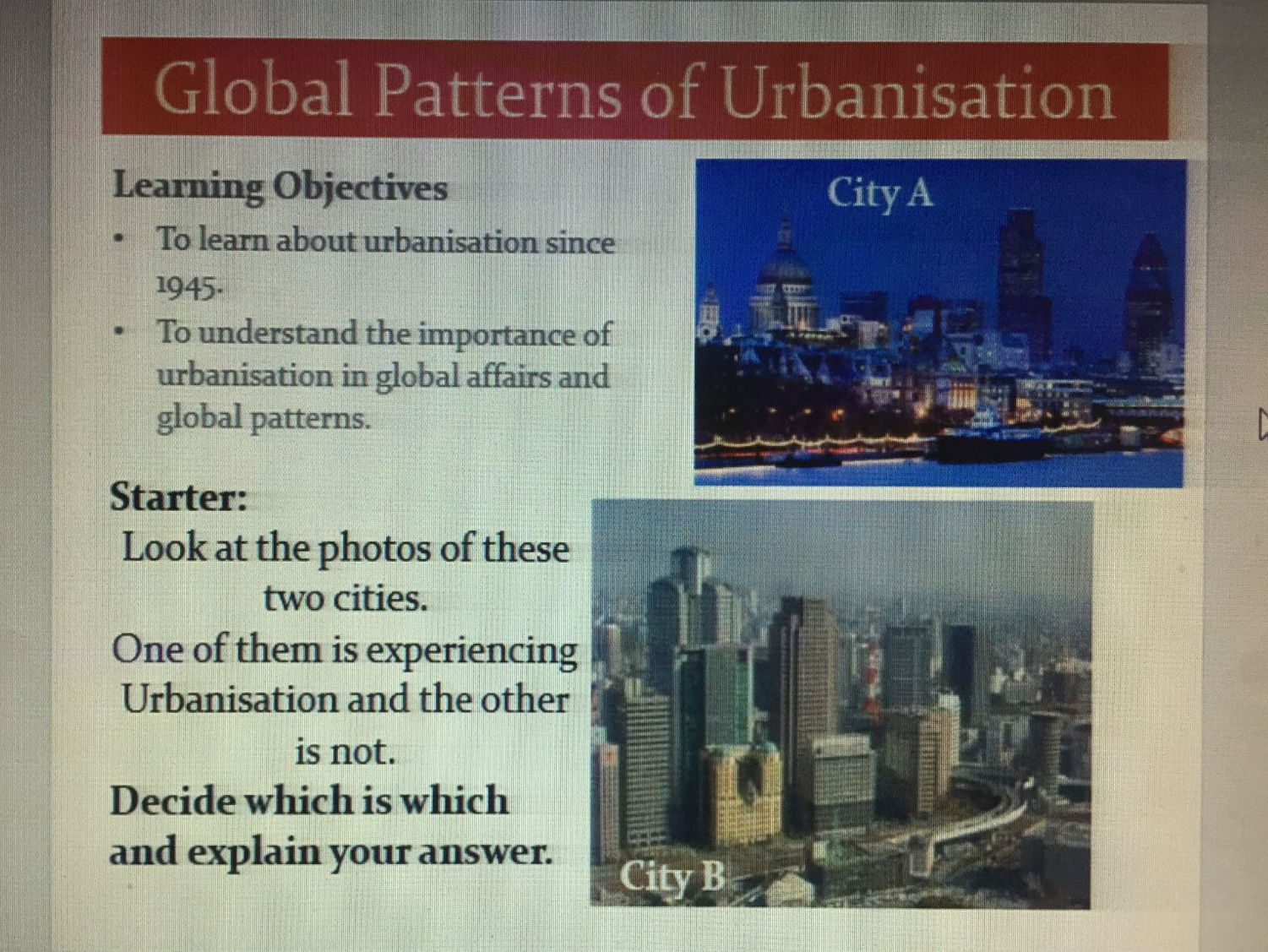 Contemporary Urban Environments - Lessons 1-8 (AQA) New A Levels