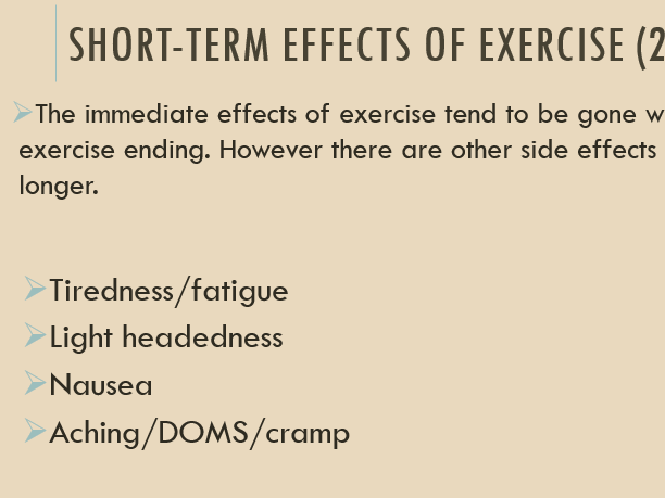 3.1.1.4 - The short and long term effects of exercise (AQA)