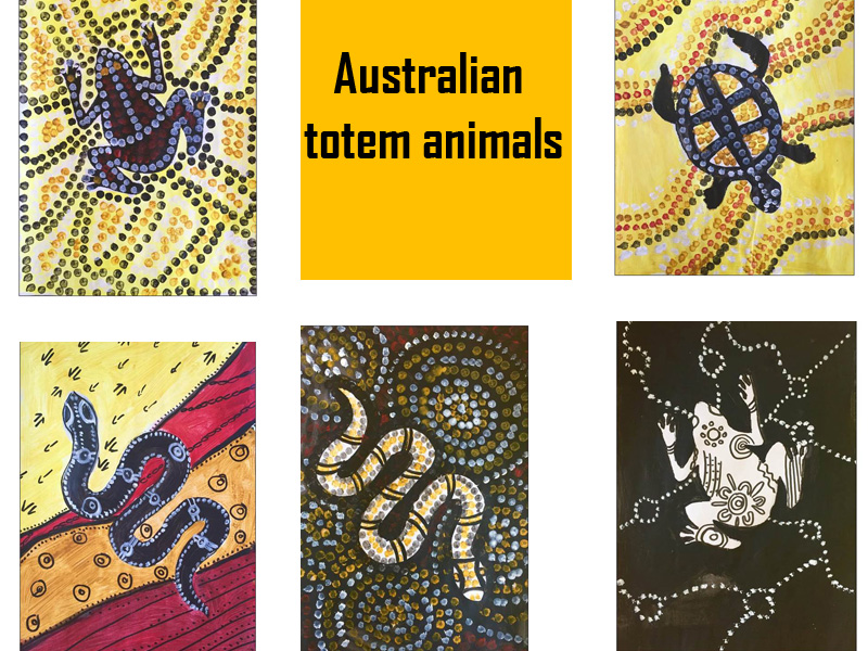Painting Australian totem animals with patterns