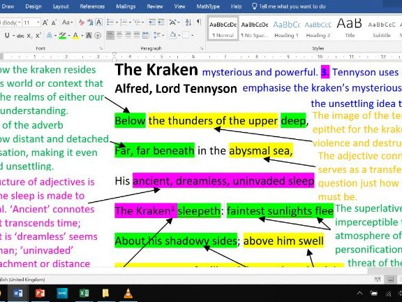 The Kraken - Fully Annotated Poem CIE