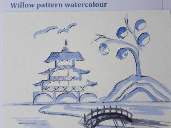 Willow pattern watercolour
