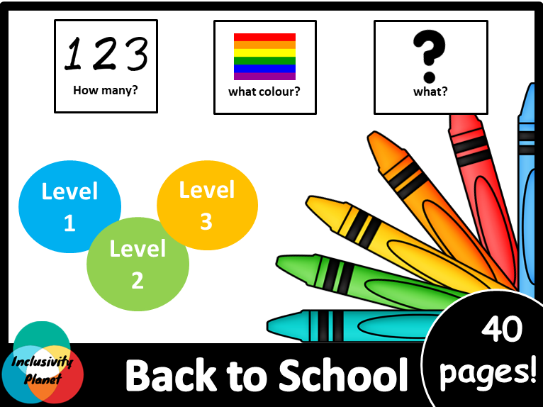 Back to School AUS/UK version HOW MANY, WHAT COLOUR, WHAT? Adapted book level 1, 2 & 3