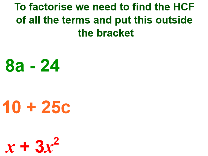 Factorising Single Brackets