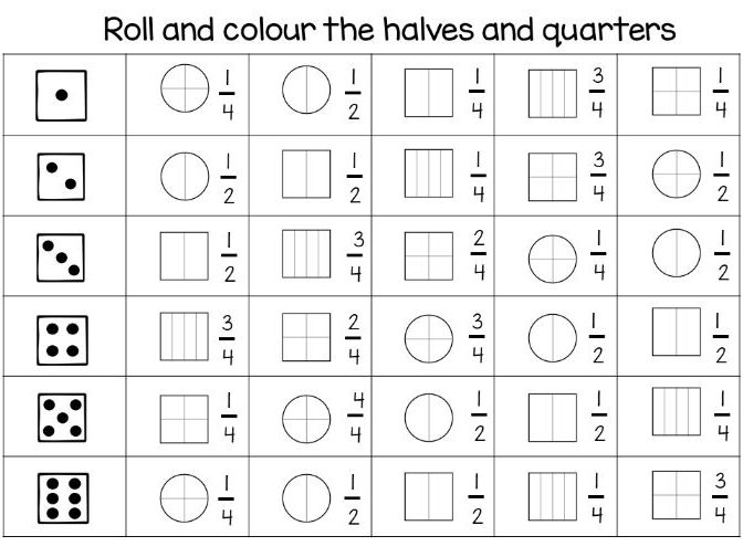 Year 1 / Year 2 - Roll and colour the fractions