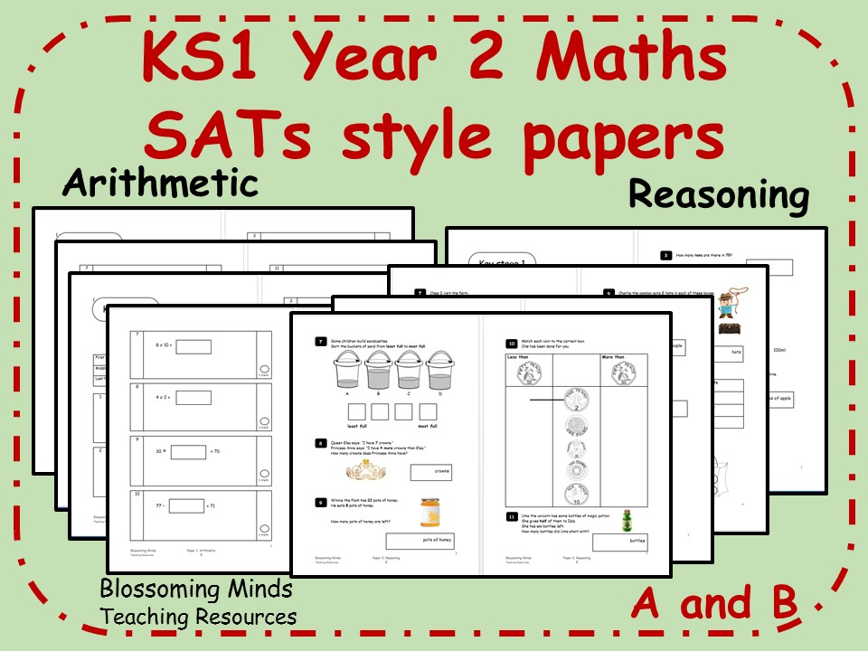 KS1 Year 2 Maths SATs style papers (A+B) - Arithmetic and Reasoning