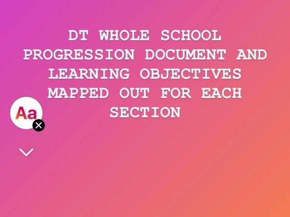 DT Progression and Learning Objectives WHOLE SCHOOL