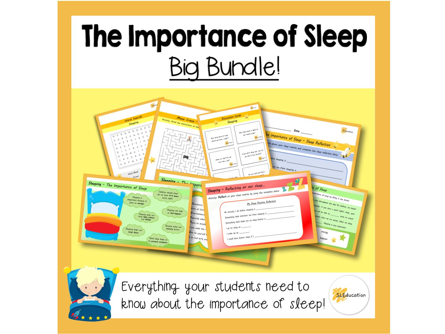 The Importance of Sleep | PPT/Worksheets/Games |  Big Bundle | KS1 | PSHE