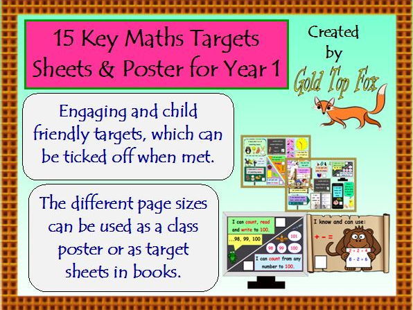 15 Key Maths Targets Sheets and Poster for Year 1