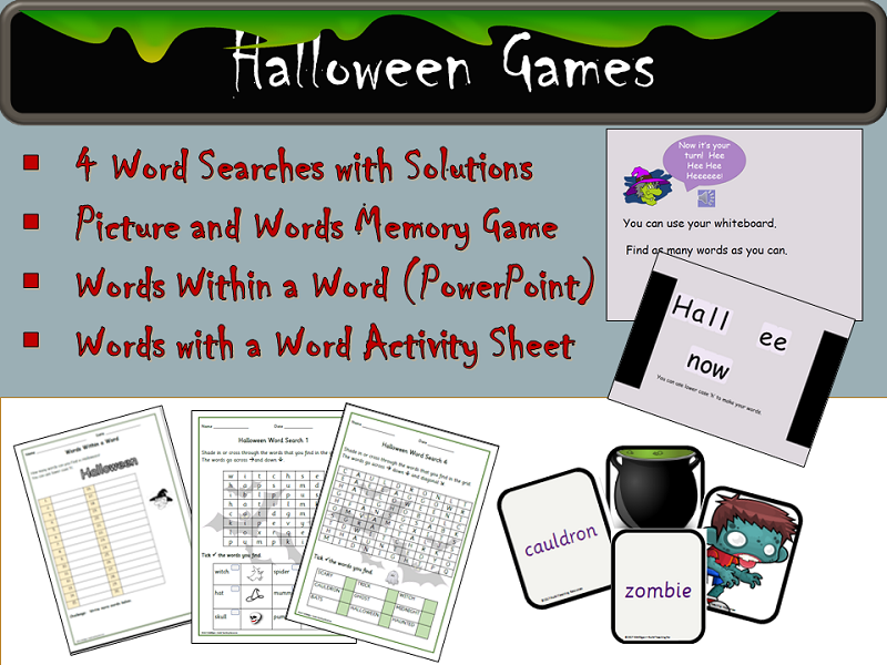 Halloween Games: Word Searches, Words Within a Word - PowerPoint, Memory Game , Activity,  Notes
