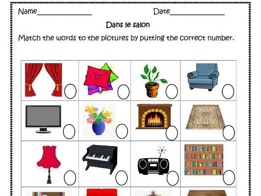 Dans le salon (French living room) distance learning worksheet