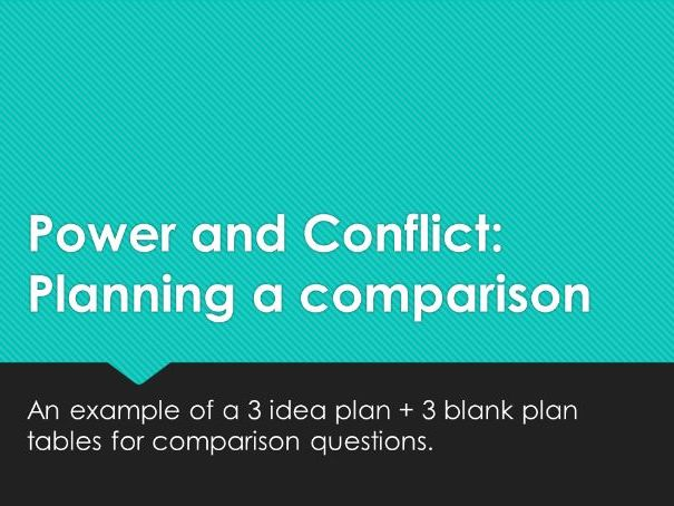 Power and Conflict: Planning a comparison