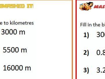 Metric Measures-converting between metres and kms differentiated worksheet