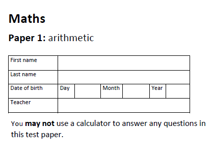 KS2 Mathemetics Papers