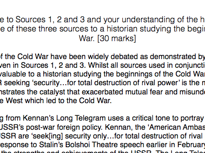 History A level: Russia, Section A exemplar essay, beginnings of the Cold War
