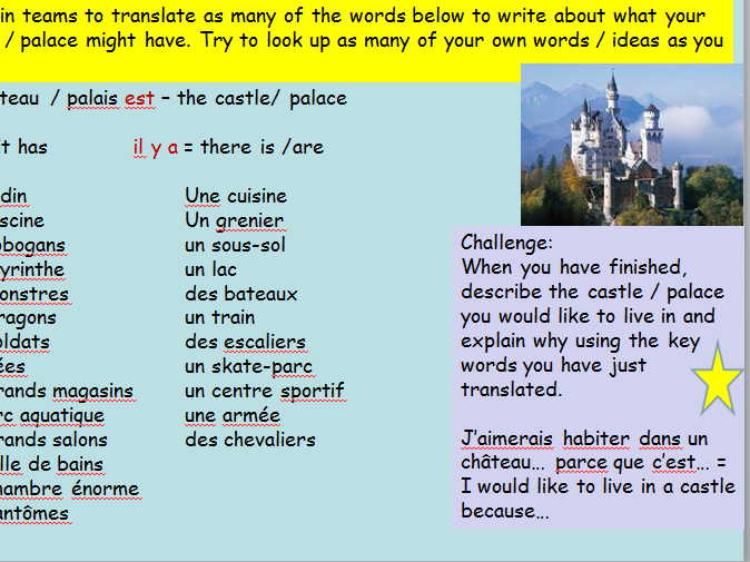 French KS3 Cover Lesson Design your own Castle / Palace