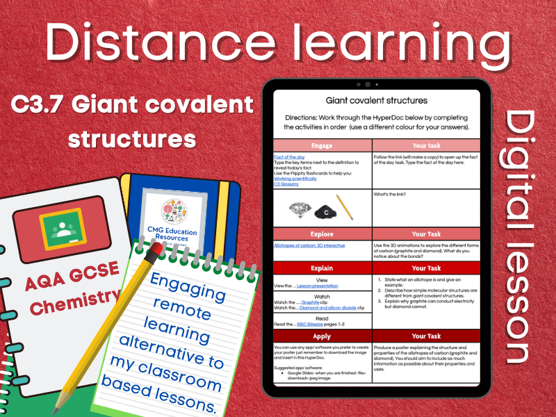 SC3.7 Giant covalent structures: Distance learning (AQA GCSE Chemistry)