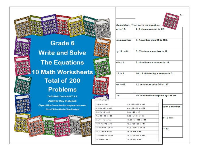 Equations- Write And Solve- Grade 6-Calculator Theme-Worksheets