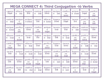 Third Conjugation -io Latin verbs Mega Connect 4 game