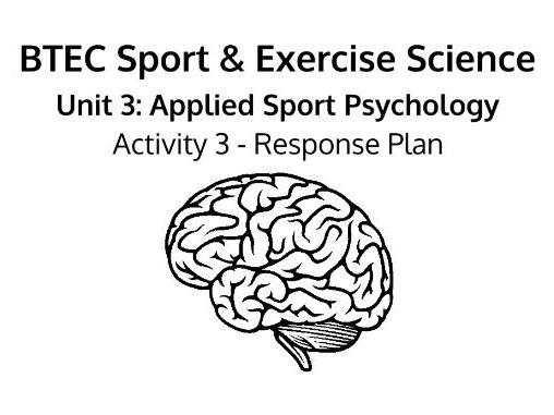 BTEC Level 3 (NQF) Sport & Exercise Science: Unit 3 - Psychology Activity 3 Synoptic Response Plan