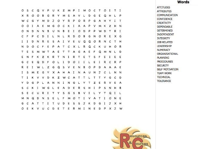 Personal attributes & Work attitudes WordSearch (various formats)