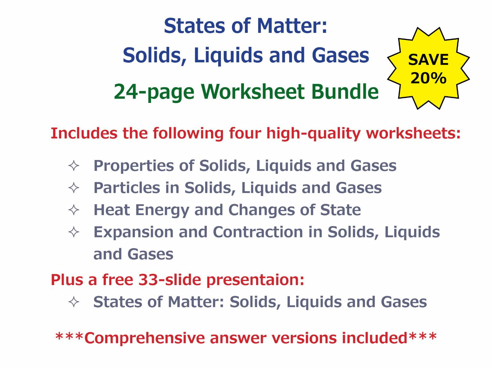 Expansion and Contraction in Solids, Liquids and Gases [Worksheet ...